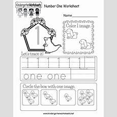 Number One Worksheet  Free Kindergarten Math Worksheet For Kids