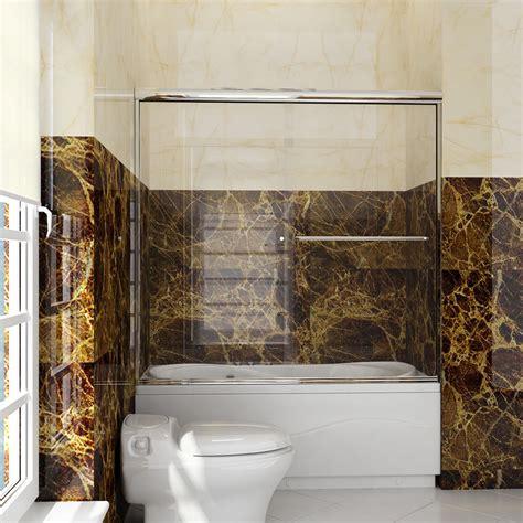 semi frameless sliding bathtub shower door  glass