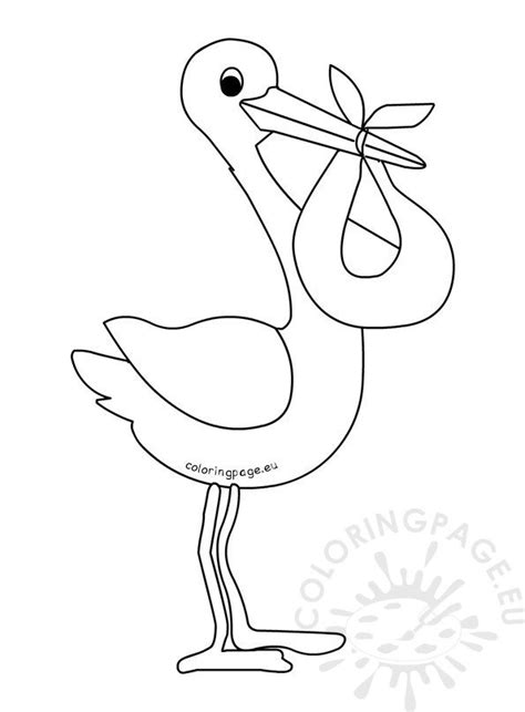 cartoon baby stork template coloring page