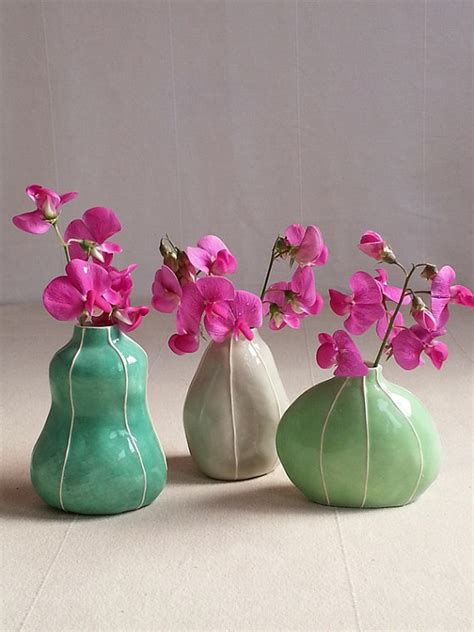 Different Vase Shapes by Bud Vase Set 3 Different Shapes In Colors Handmade