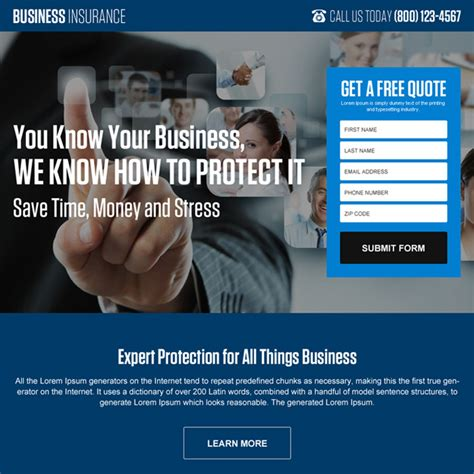 business insurance quotes landing page design templates to improve your presence