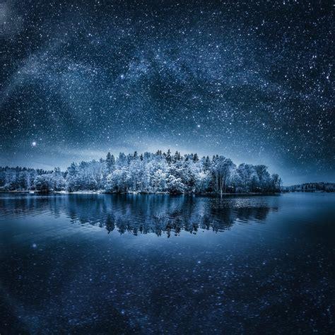night landscape winter stars nature hd wallpapers
