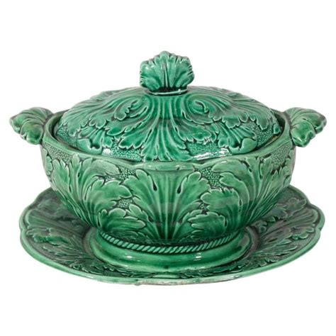 glass vases small antique green majolica tureen at 1stdibs