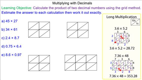 multiplication worksheets using grid method multiplying decimals using the grid method mr
