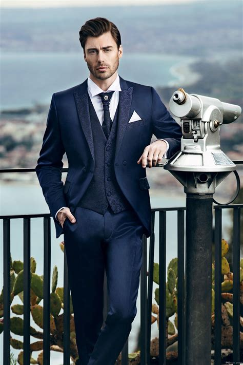 Shop cool personalized navy suit blue shirts with unbelievable discounts. Classy Navy Blue Wedding Tuxedos Slim Fit Suits For Men ...