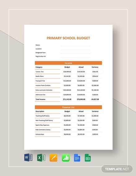school budget templates word  excel