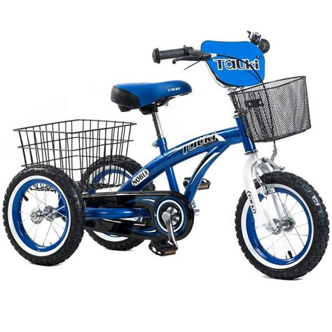 Tauki 12 Inch Kids Tricycle Front and Rear Baskets Hand ...