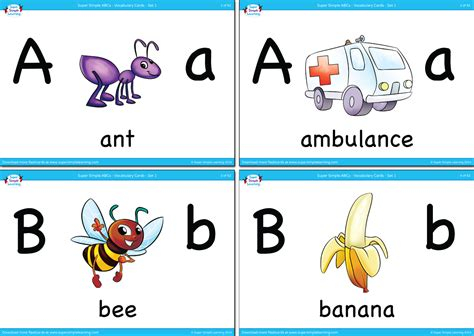 alphabet vocabulary flashcards set  super simple