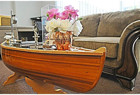 nautical theme furniture  handmade wooden canoe table