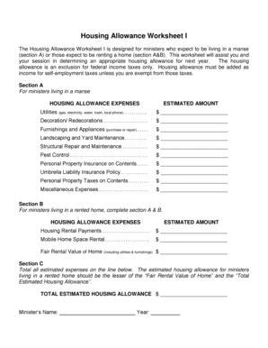 Printables Clergy Housing Allowance Worksheet Lemonlilyfestival Worksheets Printables