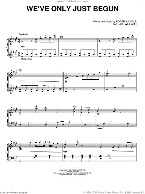 Carpenters Weve Only Just Begun Sheet Music For Piano Solo