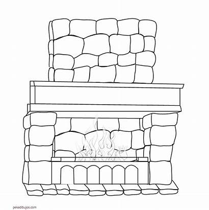 Fireplace Coloring Camino Chimeneas Ofen Dibujos Disegno