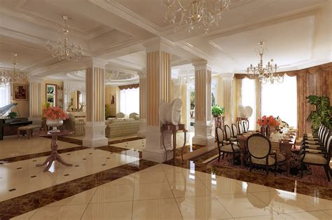 living dining room with fancy interior 3d model max
