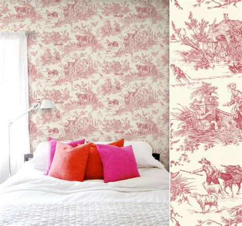 chambre toile de jouy papier peint haut de gamme déco blogdéco com