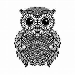 Zentangle Stylized Black Owl. Hand Drawn Vector ...