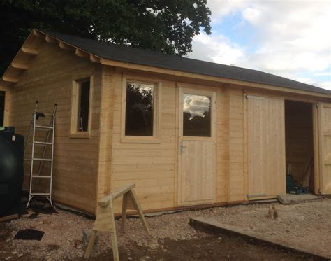 log cabin garage moa 45mm log cabin garage 5x6m