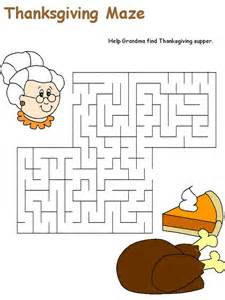 thanksgiving thanksgiving worksheets and maze on