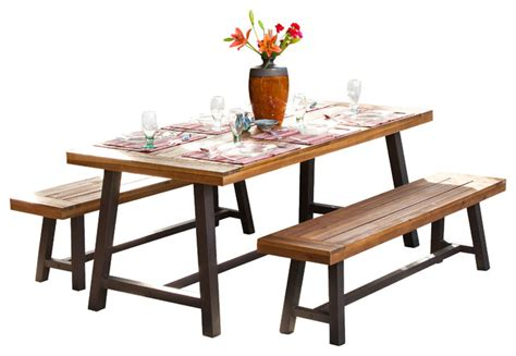 bowman picnic table set rustic outdoor dining sets