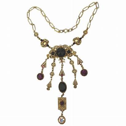 Lupe Dangle Jeweled Signed Necklace Greatvintagestuff
