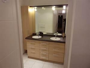 agencement de salle de bains tiroirs miroir et eclairage With meuble salle de bain dune