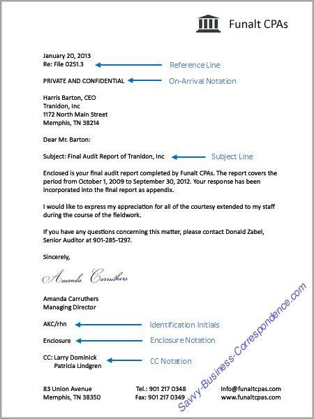 Business Letter With Additional Letter Elements Reference Line, Onarrival Notation, Subject