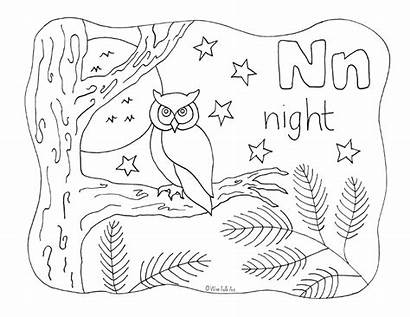 Coloring Letter Night Alphabet Nature Animals Pages