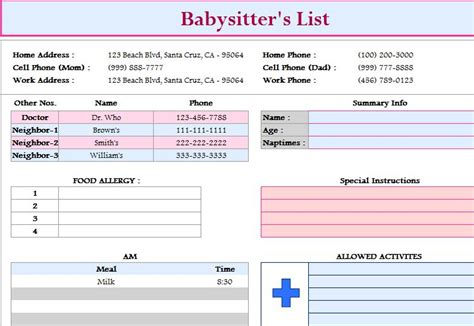 babysitters list template  excel templates