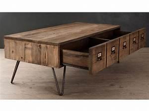 Table Basse Bois Industriel : table basse bois avec tiroir table a manger ovale amoretti decoration ~ Teatrodelosmanantiales.com Idées de Décoration