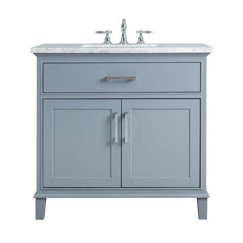 White Vanity With Gray Top by Stufurhome 36 In Leigh Single Sink Bathroom Vanity In