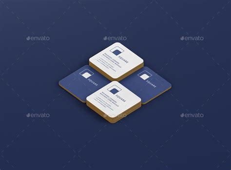 business card mockup stack square  corners