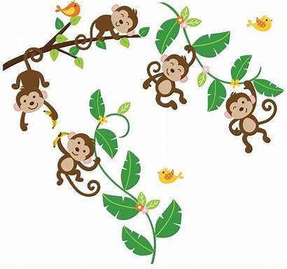 Monkeys Swinging Vines Five Monkey Clipart Vine