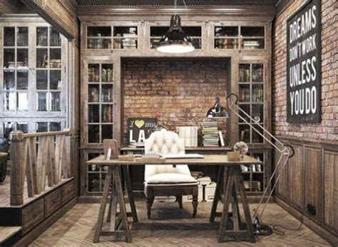 Emphasize the chic look of exposed brick walls by painting them or hanging interesting wall art to. Chic Home Office Designs With Brick Walls | ComfyDwelling.com