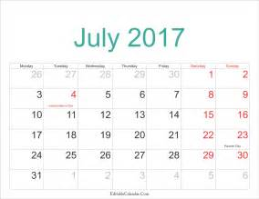 July 2017 Calendar Printable PDF
