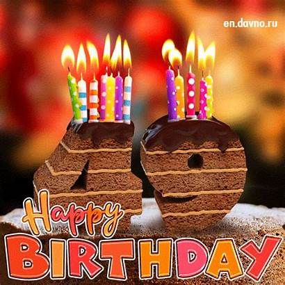 49th Birthday Cake Candles Animated Card Happy