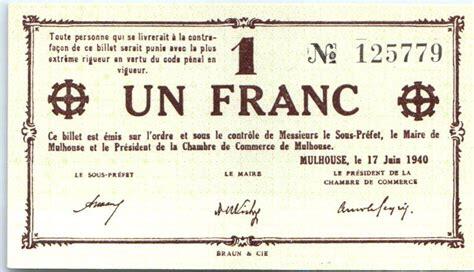 chambre du commerce mulhouse banknote 1 franc mulhouse chambre de commerce