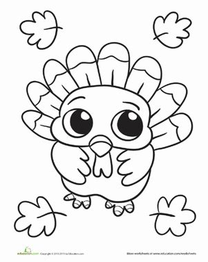 baby turkey worksheet education 975 | baby turkey coloring page holiday
