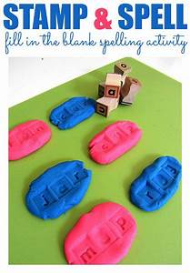 fill in the blank spelling with playdough for kids With playdough letter stamps