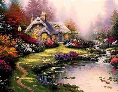 Kinkade Thomas Cottage Painting Everett Lake Scenery