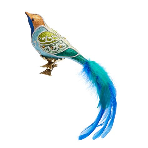 garden lover s blue green bird clip christmas ornament