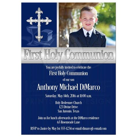 First Holy Communion Invitation Photo Template Navy