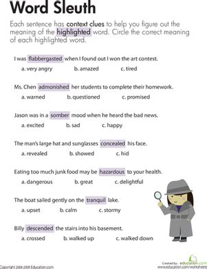 context clues word sleuth worksheet education com