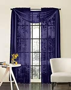 amazon com hlc me navy blue sheer panel window treatment