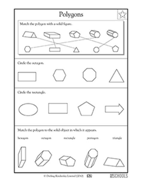 2nd grade 3rd grade math worksheets spotting polygons
