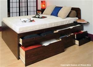 Lit Double Avec Tiroir : lit double avec tiroir maison design ~ Teatrodelosmanantiales.com Idées de Décoration