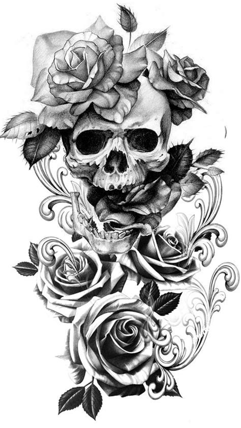 Pin by Brandi McGarey on Tattoo Ideas   Skull tattoo flowers, Skull rose tattoos, Tattoos
