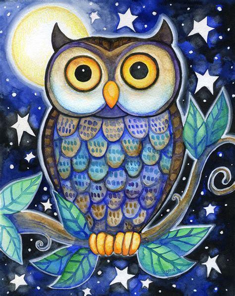 owl colors owl 8x10 colorful owl moon print i like