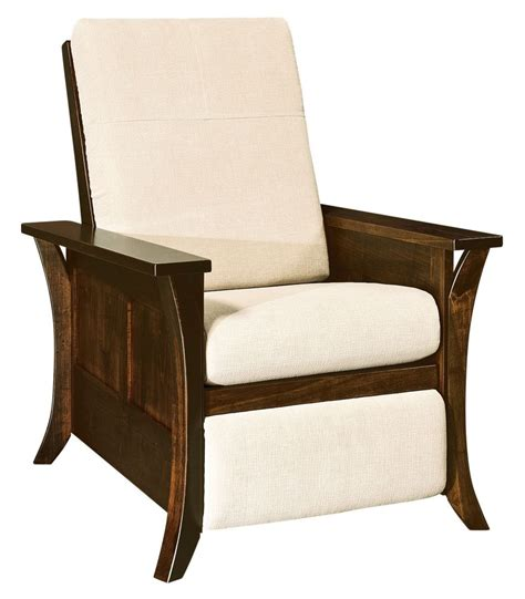 amish modern caledonia recliner accent chair solid wood