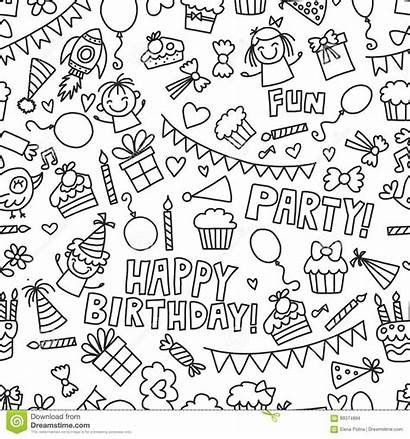 Coloring Birthday Boys Candy Children Party Doodle