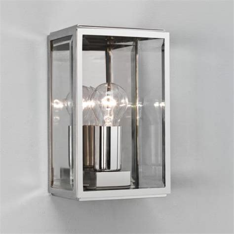 astro polished chrome ip44 garden wall light