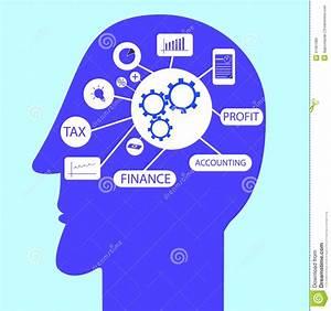 Accounting Symbol At Head Stock Vector  Illustration Of